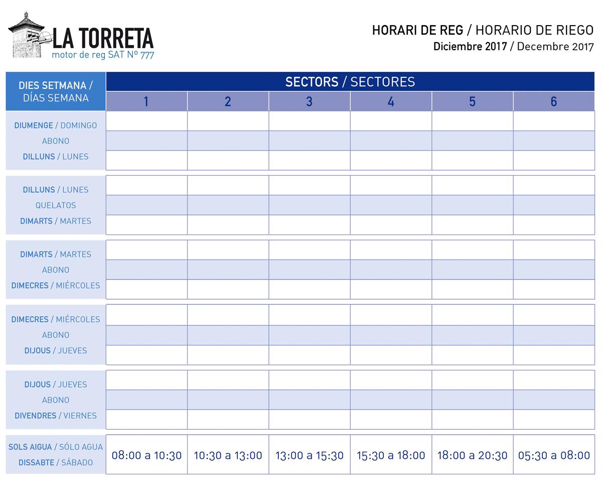 Horario De Riego Por Goteo Diciembre 2017 Horari De Reg